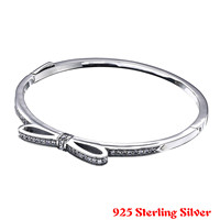 Top Quality Sparkling Bow With Cubic Zirconia Bangle Bracelet Fit Women Bead Charm 925 Sterling Silver