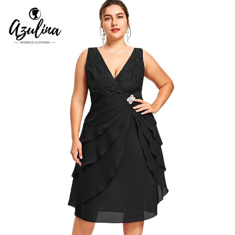 AZULINA Plus Size Lace Trim Tiered Women Dress Summer Plunging Neck Sleeveless Chiffon A Line Dress Vestidos 2018 Party Dresses