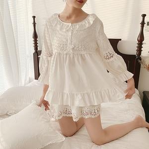 Image 2 - Summer Womens Lolita Flower Embroidery Pajama Sets Tops+Shorts.Vintage Ladies Girls Pyjamas set.Victorian Sleepwear Loungewear
