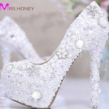 White Pearl Crystal Bridal Wedding Heels Debutante Ball Party Shoes High-heeled Rhinestone Platform Amazing Prom Pumps