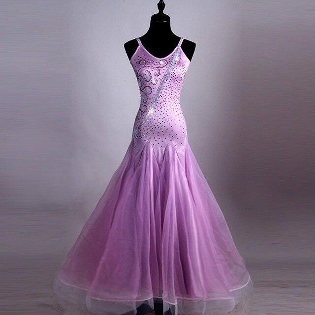 7c3996c1f7 Salón de baile competencia vestidos tamaño personalizado púrpura salón sin  mangas vestido vals vestido de baile