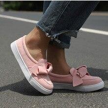 Women Loafers Plus Size Platform Slip On Bowtie Flat Shoes