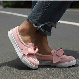 Image 4 - MCCKLE حذاء بدون كعب للنساء مقاس كبير سهل الارتداء بربطة عنق حذاء مسطح للخياطة حذاء بفيونكة غير رسمي للإناث حذاء بدون كعب