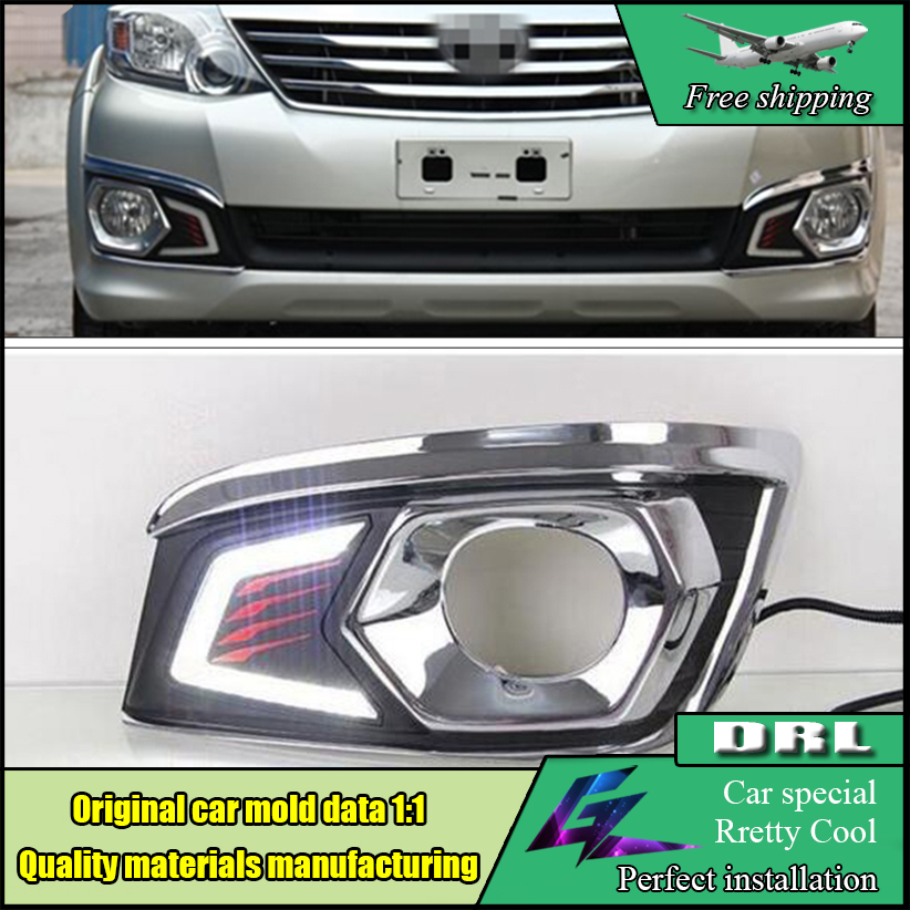 Car Styling LED Daytime Running Light For Toyota Fortuner 2012 2013 2014 White DRL Light Fog Lamp Cover Kits car styling front lamp for t oyota for tuner 2012 2013 daytime running lights drl