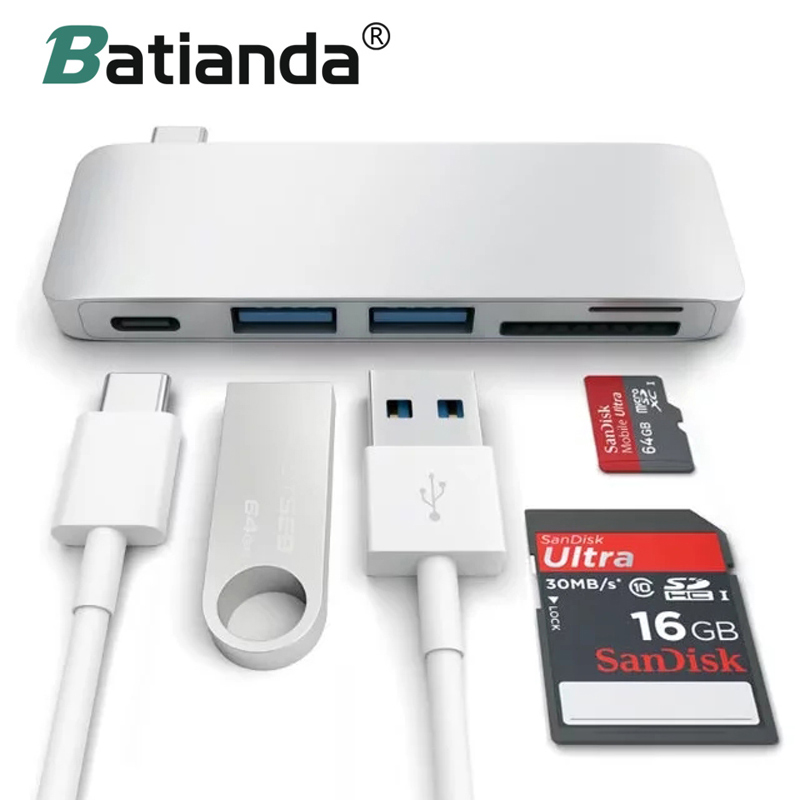 5 in 1 USB-C Adapter with 2 USB 3.0 Ports SD & MicroSD Memory Reader, Type-C USB 3.0 Hub For New Macbook Pro Color Match ...