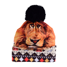Hot Sale 3D Full Print Beanie Hat Women Man Aztec Peru Lion Autumn Winter Cap Bobble Pompon Knitted Christmas Hats Gift