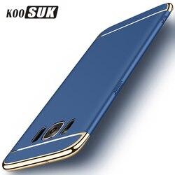 3 dans 1 téléphone cas pour samsung galaxy s9 s8 s7 s6 edge plus couverture arrière or plaqué protection cas dur shell sacs coque funda