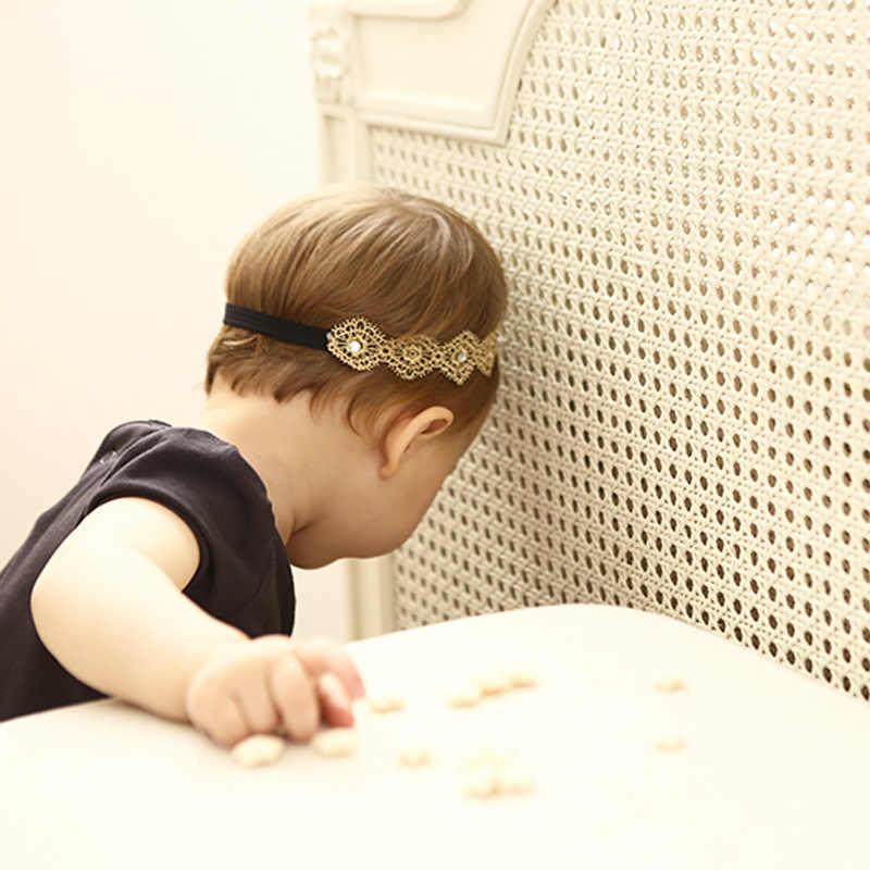 ใหม่ลูกไม้สีทอง Hollow เด็กหญิง Headwear เด็ก Headbands ผมวงยืดหยุ่นผมเด็กอุปกรณ์เสริมผม