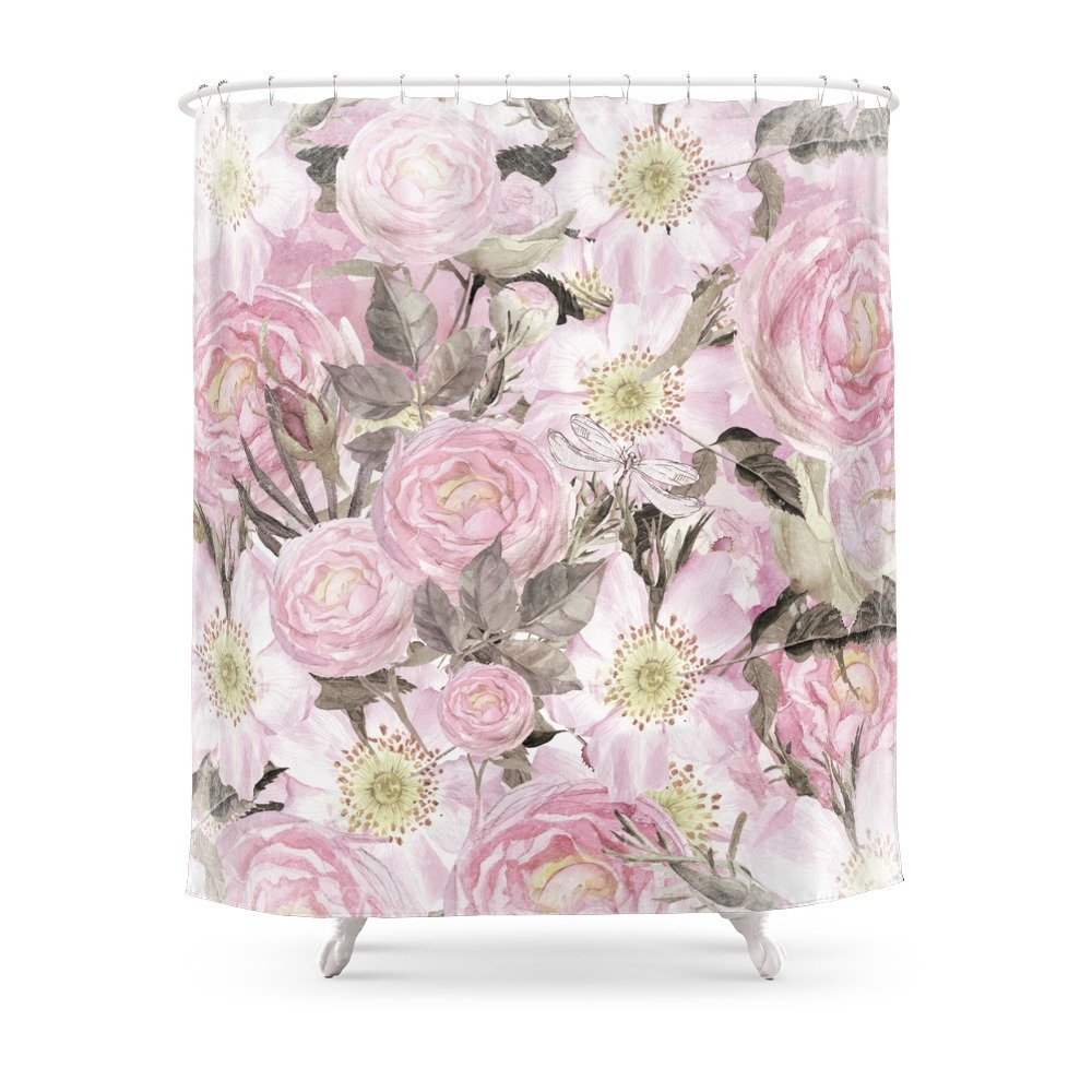 Floral Vintage Painterly Background In Pink With Roses Flowers And Insect Shower Curtain Waterproof Bathroom Shower Curtains|curtains waterproof|bathroom shower curtain|waterproof bathroom - title=