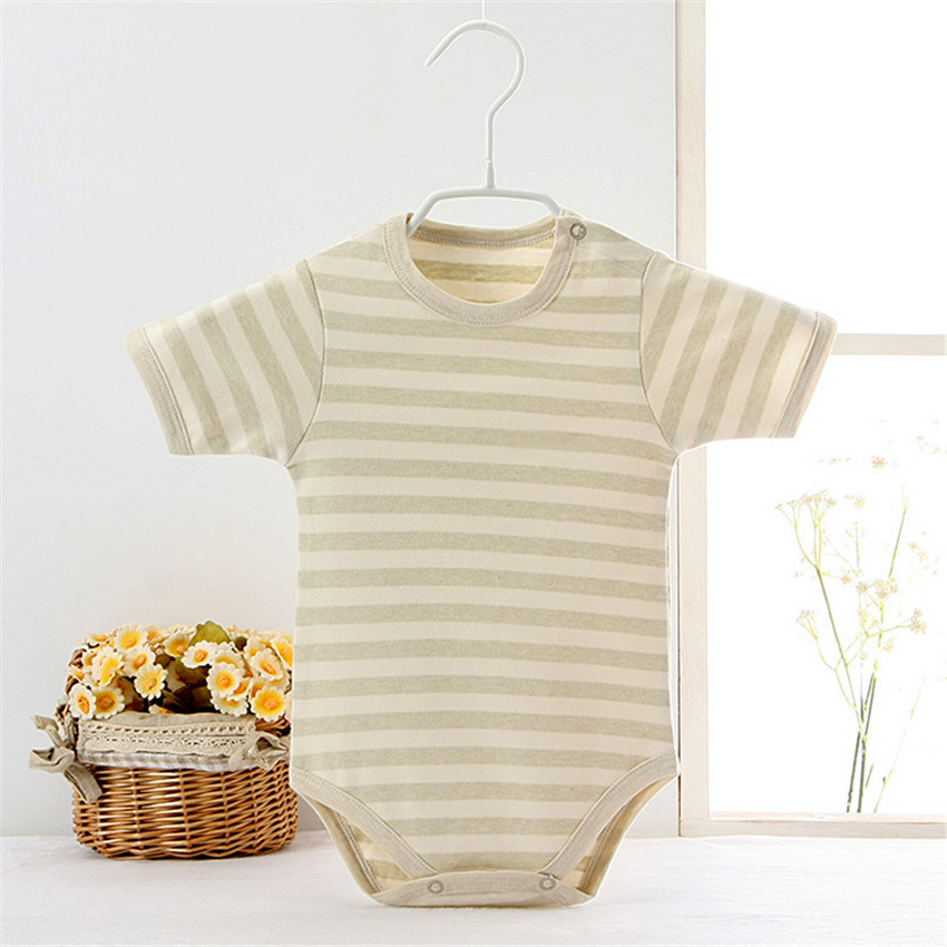 Newborn Baby Cotton Rompers Striped Print Unisex Baby Boy Girls Short Sleeve Baby Coveall Jumpsuits Bebes Pajamas Infant Clothes