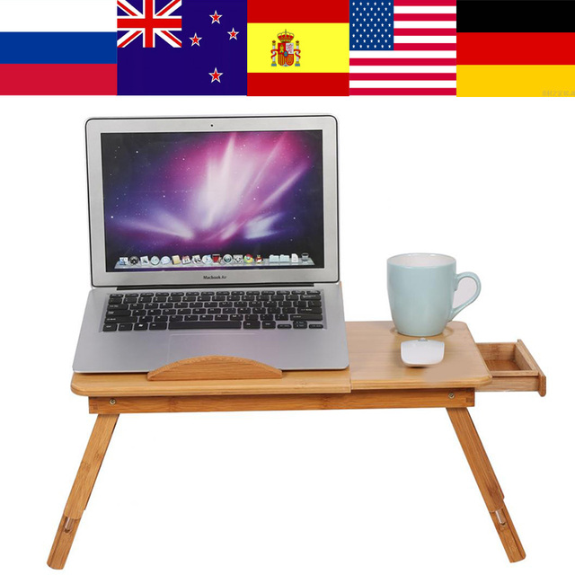 1pc adjustable bamboo rack shelf dormitory bed lap desk two flowers