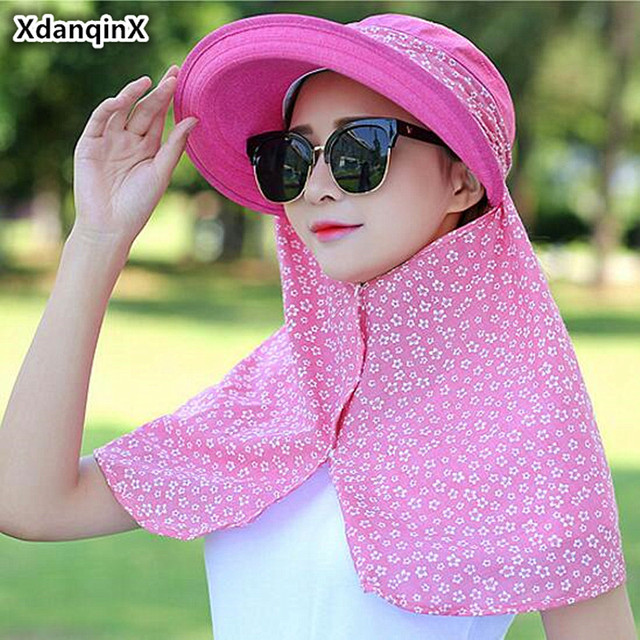 XdanqinX Foldable Summer Women s Hat All-round Sun Protection Sun Hats New  Style Mask Cover Face Anti-UV Beach Hat For Women f50f93069211