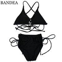 BANDEA Bikini Sexy Summer 2017 Strappy Women Swimwear Swimsuit Lace Up Brazilian Style Bikinis High Waist Mesh Bikinis Set