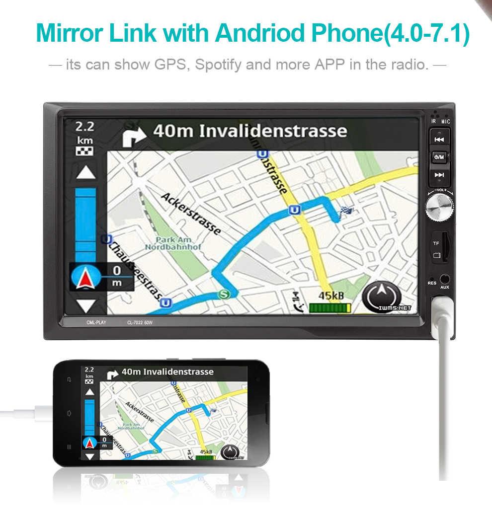 7022 カーステレオ Bluetooth ラジオ 7''2 DIN タッチスクリーンハンズフリー Android 携帯ミラーリンクサポートフロントリアビューカメラプレーヤー