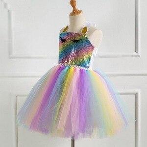 Image 3 - Girls Unicorn Pony TUTU Dress With Gold Headband Wings Kids Sequin Princess Party Dress Children Unicorn Costumes 2019 New 2 10T