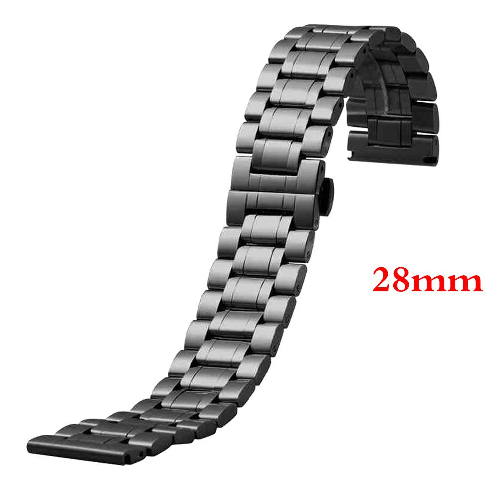 28mm Luxury Watch Band Womens Men High Quality Black Stainless Steel Watch  Band Strap Straight End
