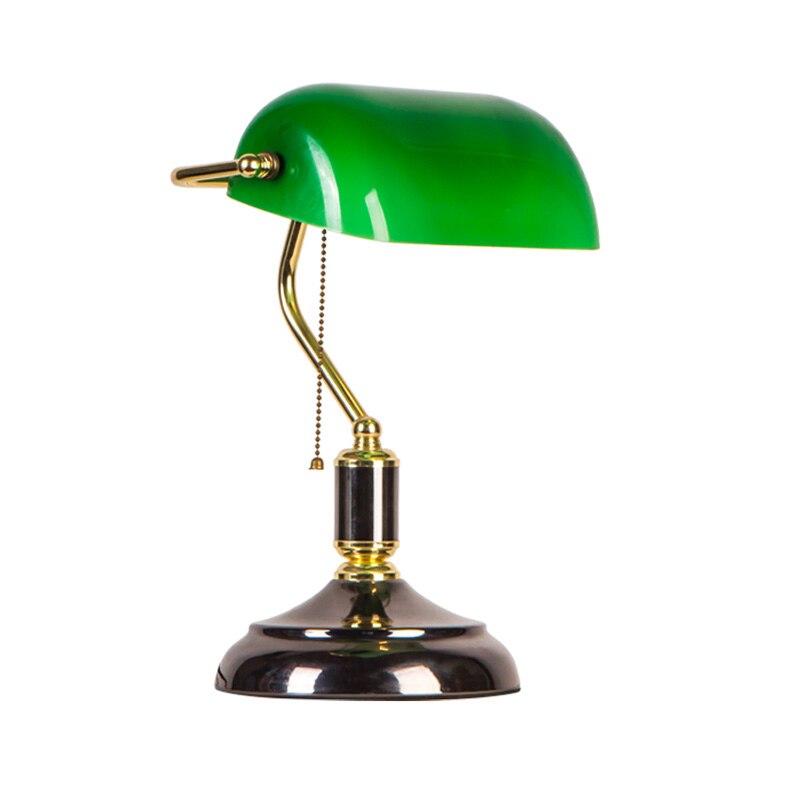 Traditionnel Vintage bureau bureau lampe interrupteur chambre république de chine archaize outillage vert abat-jour blanc art décoration