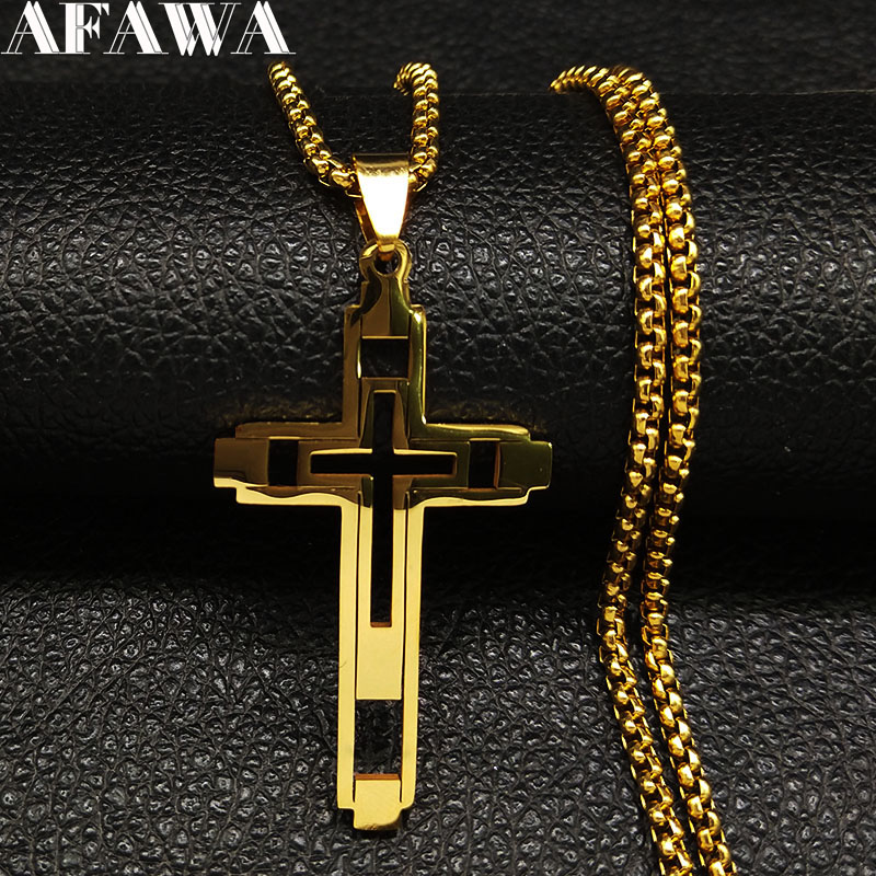2019 Fashion Cross Stainless Steel Choker Necklace for Men Gold 