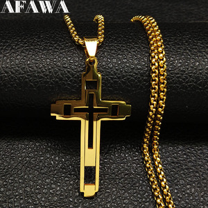 2019 Fashion Cross Stainless Steel Choker Necklace for Men Gold Color Statement Necklace Jewelry collares largos N1173S02(China)