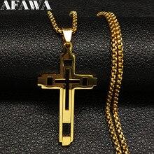 Ожерелье чокер N1173S02 мужское из нержавеющей стали, модное колье с крестом, эффектное ювелирное изделие, цвет золото, 2020