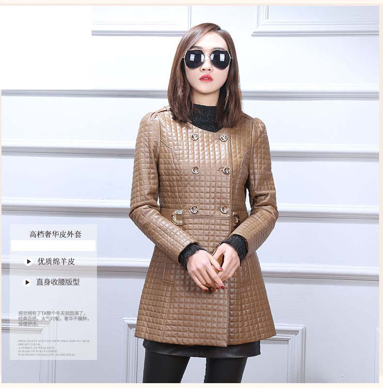 new womens genuine leather sheepskin coat with cotton padded double breasted ladies female jacket brown winter autumn clothing