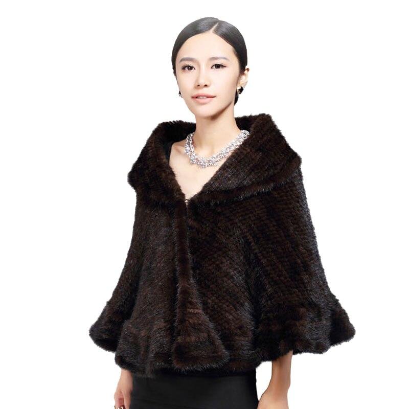 Chal de piel de visón de punto genuino/abrigo/capa Linda/abrigo de piel de visón grueso para mujer gran tamaño chal de piel de visón de lujo tejido