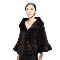 Genuine Knitted Mink Fur Shawl/Wrap/Cape cute /Women thickening mink fur coat big size lady luxury mink fur shawl knitting