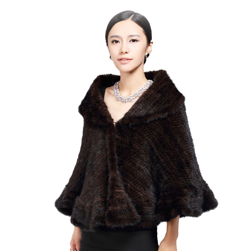 Véritable Fourrure de Vison Tricoté Châle/Wrap/Cap mignon/Femmes épaississement de fourrure de vison manteau grande taille dame de luxe fourrure de vison châle tricot