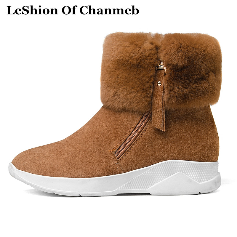 Detail Feedback Questions about Fashion Real Rabbit Fur Ankle Boots Women  Warm Plush Winter Snow Boots Black Brown Nubuck Leather Sneakers Boots  Female ... 81989260095b