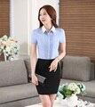 Verão Formal Uniforme Escritório Projeta As Mulheres Ternos de Negócio com Saia de Duas Peças e Tops Conjuntos Senhoras Blusas & Camisas
