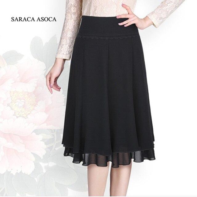 5e73edc94 Ladies Color Negro Hasta La Rodilla de Encaje Plisado Faldas Moda de  Primavera de Gasa Busto Falda Larga Para Las Mujeres en Faldas de Ropa y ...