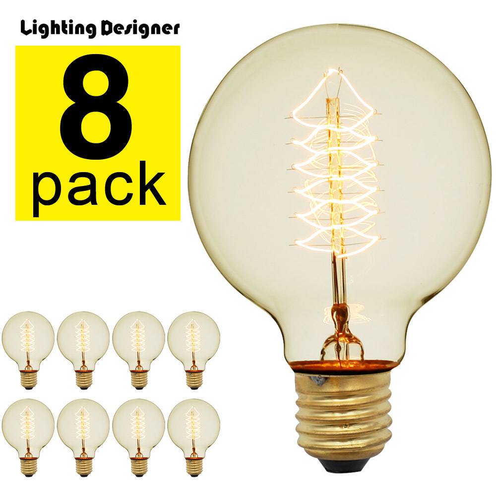 8Pieces Pack Edison Bulb Vintage Incandescent Light Bulb 40Watts 220 240V E27 Globe Decorative Light Bulb