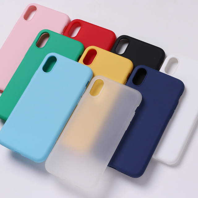 Silicone Sólido Mate Doce Simples Macio Coque Telefone Fundas Capa Fina Tampa Traseira Para o iphone 7 Além de 7 6 s 5S 8 8 Plus X XS Caso Max