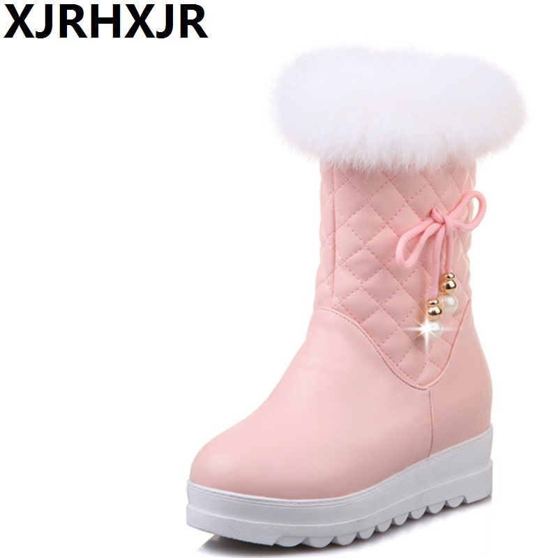 XJRHXJR 33-43 New 2018 Fashion Warm Mid Calf Snow Boots Women Round Toe Leather Warm Down Winter Thick Fur Ladies Winter Shoes new fashion superstar brand winter shoes embroidery snow boots tassel women mid calf boots thick heel causal motorcycles boots