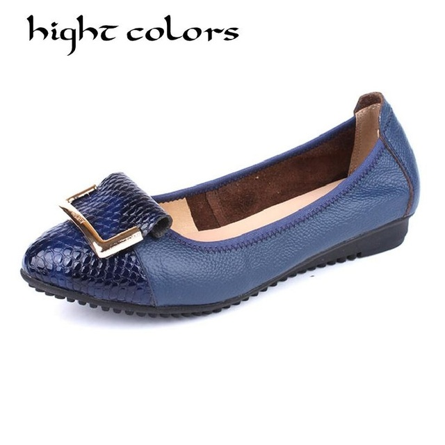 Mother shoes comfortable soft bottom female leather shallow mouth peas shoes casual slip flat shoes for women with us10.5 26.5cm