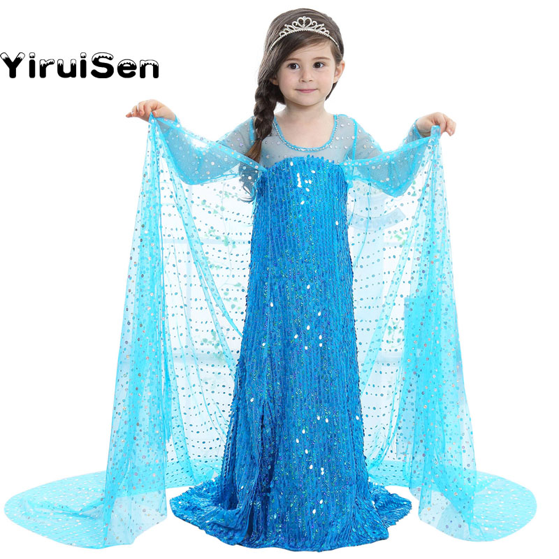 2017 Fairy Toddler Fever BLUE Girl Elsa Dress Clothes Princess Dress to the Floor Kids Girls Costume Party Christmas Clothing светильники trousselier абажур princess fairy 34х22 см