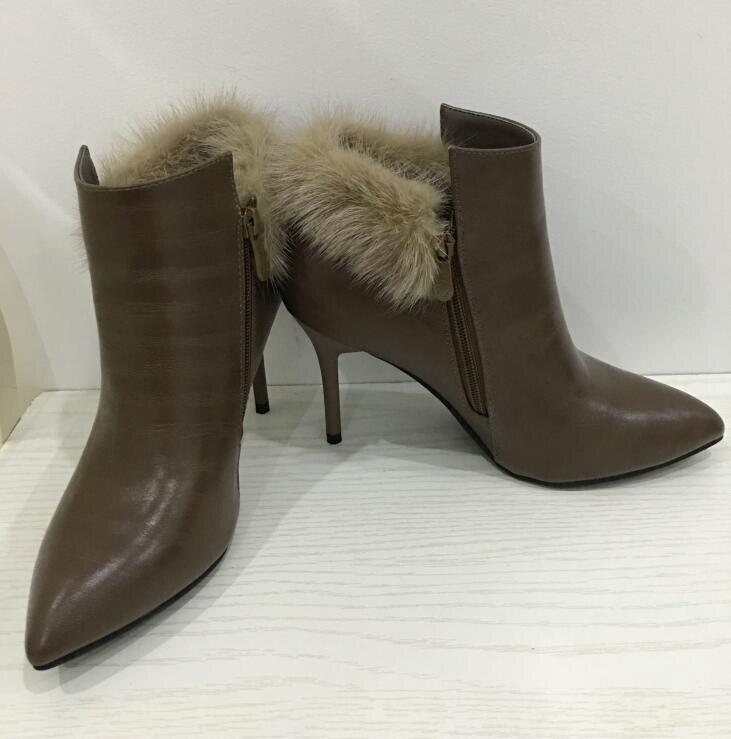 Ayakk.'ten Ayak Bileği Çizmeler'de Dousin partin Kürk Botları Ince Yüksek Topuklu 8cm Sivri burun Kış Kürk Botları Kaliteli Ayakkabı Botas moda ayakkabılar kadın'da  Grup 1