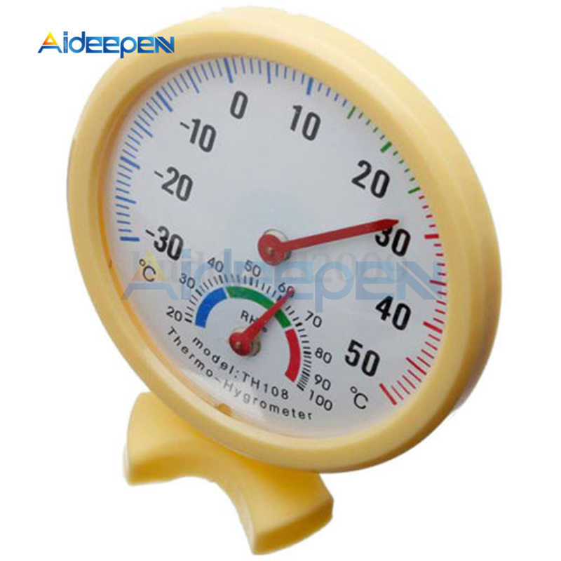 TH108 Mini termómetro Digital higrómetro reloj redondo de medición en forma de termómetro de humedad exterior para interiores