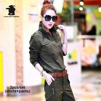 New Women S Military Uniform Sets Shirts Pants Fashion Army Green Plus Size 100 Cotton Casual