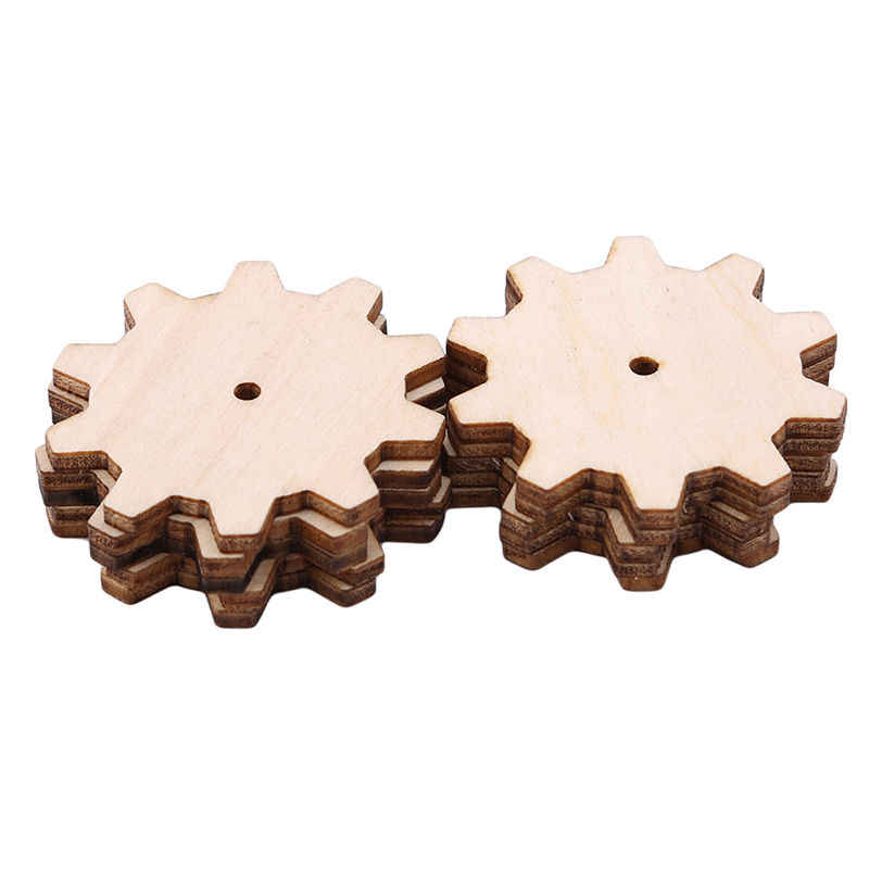 Creative 10pcs Unfinished Wood Gear Puzzle Hand Drawn Doodle Accessories For Board Game Pieces Arts Crafts Projects Ornaments