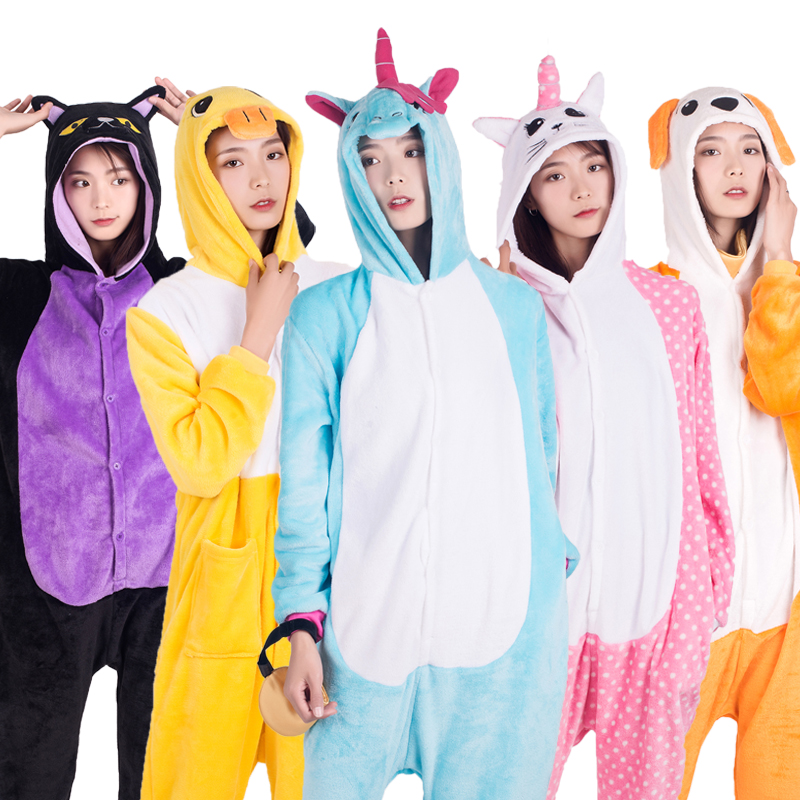 NEW Soft Hooded Women Pijamas Cartoon Cosplay Unicorn Night Cat Sleepwear Winter Men Women Pajamas Set Flannel Homewear Costume in Pajama Sets from Underwear Sleepwears