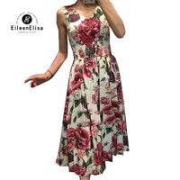 Цветочный принт платья Элегантный 2018 A Line платье Роскошные Для женщин летние платье без рукавов Винтаж