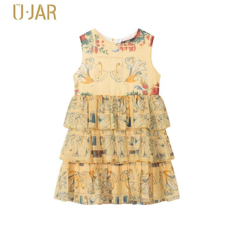 UJAR Summer Fashion Girl Sleeveless Print Dress School Child Kids O-neck Princess Lyered Dresses U42N405 женское платье summer dress 2015cute o women dress