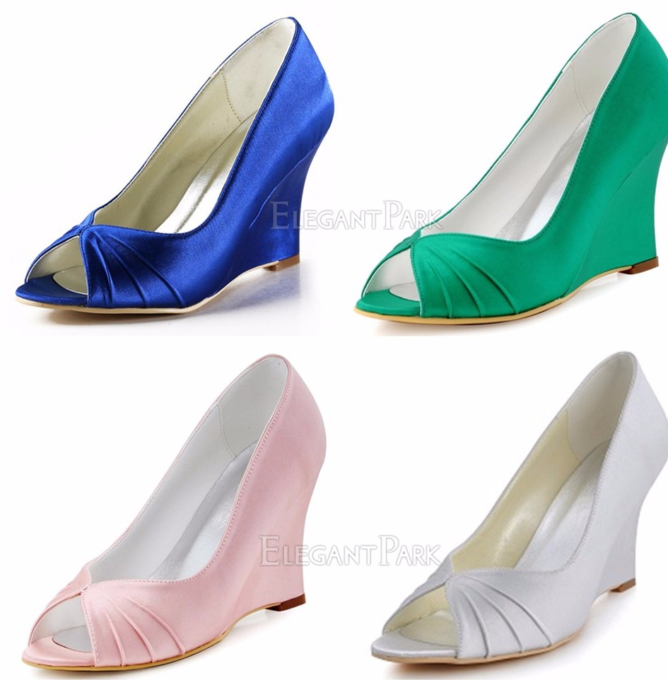 Woman wedges white ivory high heel ankle strap pumps round toe satin bride bridesmaid  wedding bridal evening dress shoes A610USD 42.99 pair f726f0df6394