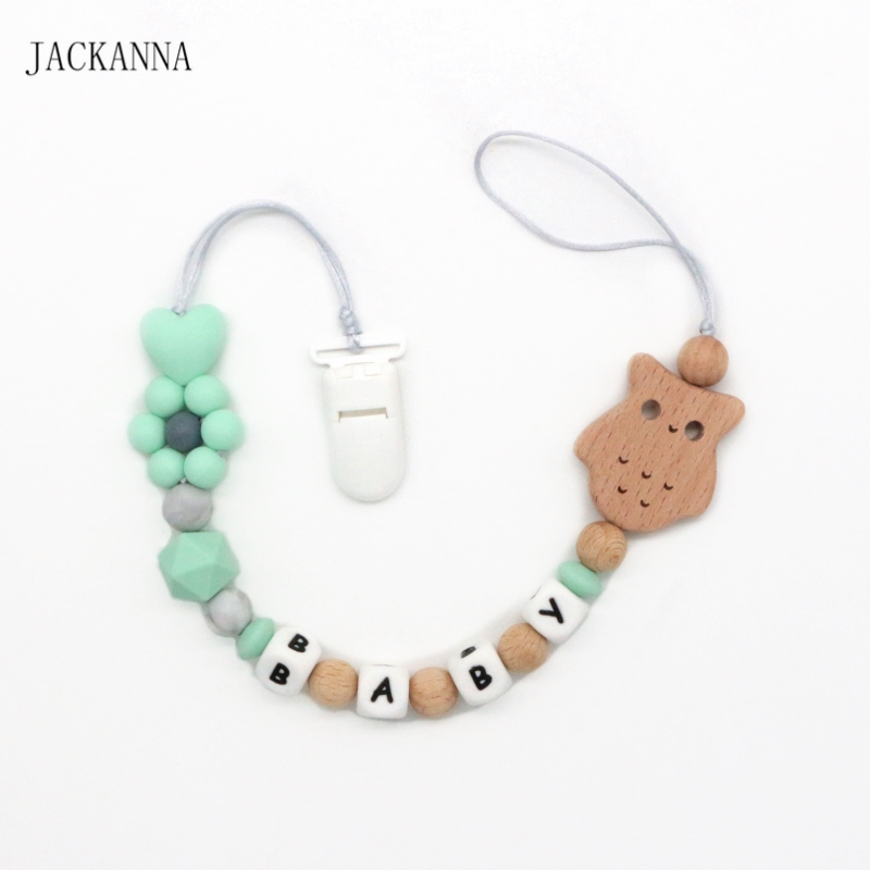 Baby Feeding Personalised Dummy Clip Pacifier Holder Clip Strap Wooden Beads Chain Toy
