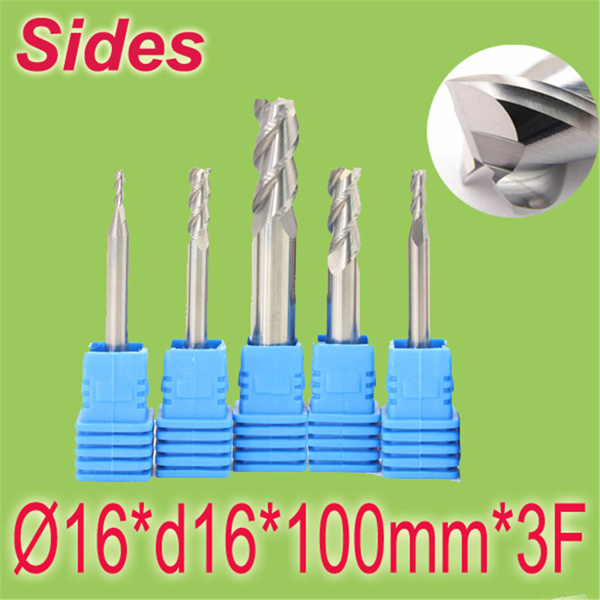 Free Shipping  16*d16*100mm*3F 10mm Aluminum 3F Square Flat Spiral Flute Endmill Cutter Working on CNC Milling Machine