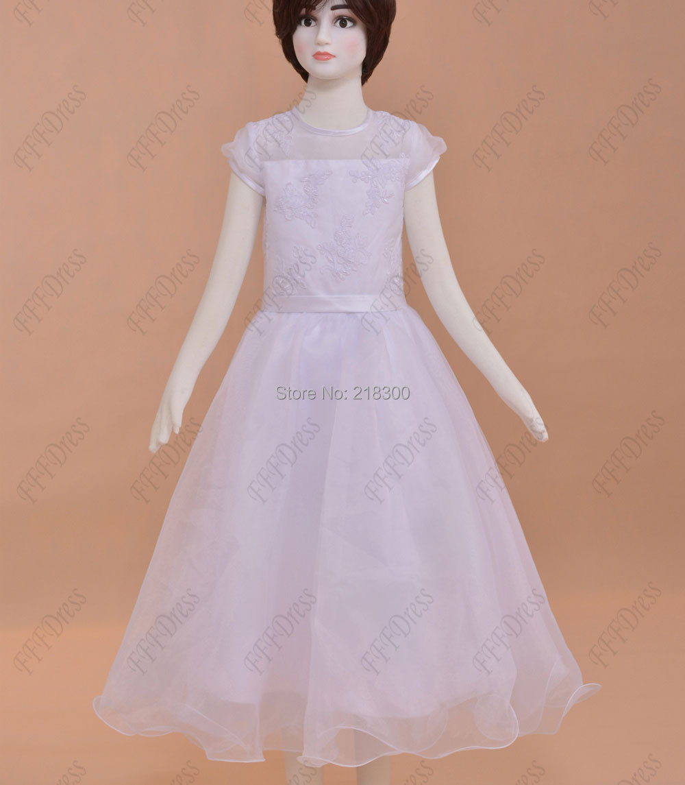 Online Shop Modest white first holy communion dresses tea length ...