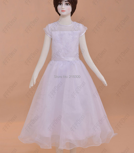 Modest white first holy communion dresses tea length ball gown girls ...