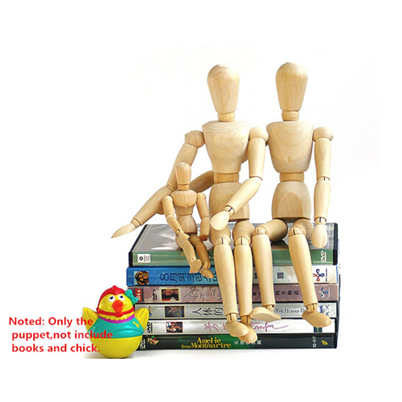 ФОТО New Style Wooden Artist Manikin Jointed Mannequin Hand Blockhead Puppet,Fashion One Family Joint Puppet 3 Pcs/Set