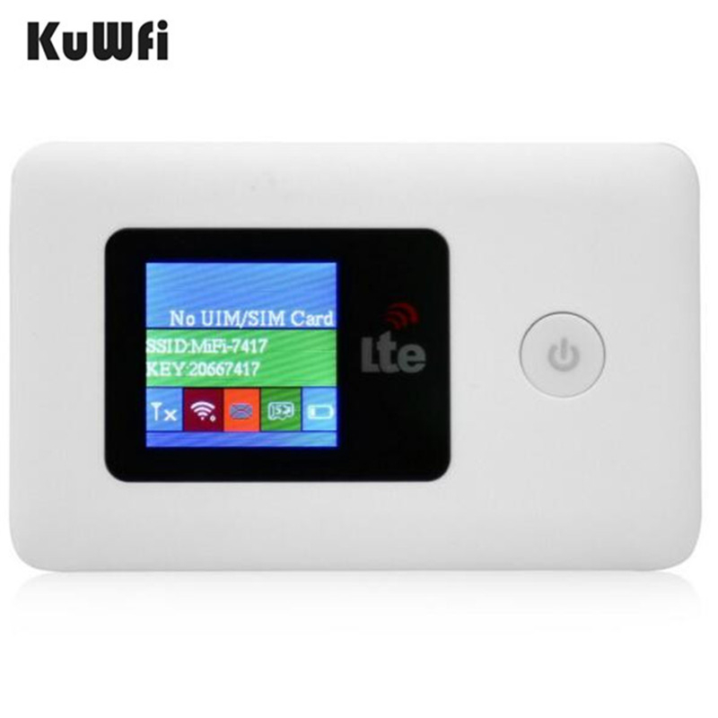 KuWFi 4G Wifi Router Unlocked 150Mbps 3G/4G LTE Outdoor Travel Wireless Router With SIIM Card TF Card Slot Pocket Up To 10 Users-in 3G/4G Routers from Computer & Office
